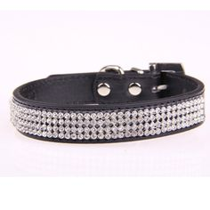 Leshwo Adjustable Fashion PU Leather Crystal Diamond Bling Rhinestone Pet Dog and Cat Collar Black -S => Wow! I love this. Check it out now! : Cat accessories