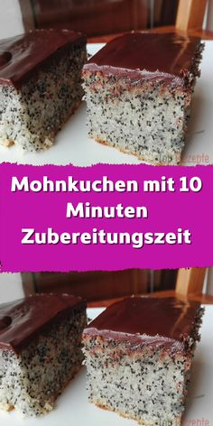 Mohnkuchen mit 10 Minuten Zubereitungszeit It is a simple and very quick cake that everyone tastes good. The sheet is empty after a few minutes. The preparation does not take much time. Easy Cookie Recipes, Cake Recipes, Dessert Recipes, Homemade Desserts, Poppy Seed Cake, Quick Cake, Evening Meals, Food Cakes, Food Items