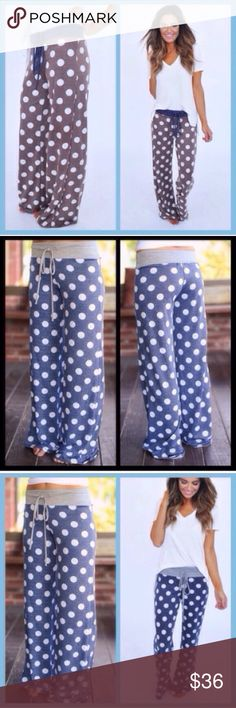 ❣️LAST❣️ Polka Dot Lounge Foldovers Drawstring Brand new and super cute! Sizes S M L. JUNIOR SIZING. S fits 0-2, medium 4-6, large 6-8. RESTOCKED this as it was a hit last fall! I don't have other sizes :( BLUE IS SOLD OUT WONT RESTOCK Pants Boot Cut & Flare