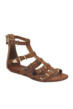 """SALE: Reg. $25 Leatherette gladiator sandals with gold metal non-adjustable buckle accents. Open toe front and rear zipper for easy on and off closure. Low flat heels and lightly padded insole for comfort. Ankle strap height- 5"""" All man made material Imported **Sizes run a bit large. I wo..."""