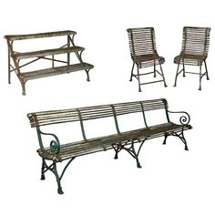 19th Century French Arras Garden Furniture, Four-Piece Set   From a unique collection of antique and modern planters-jardinieres at https://www.1stdibs.com/furniture/building-garden/planters-jardinieres/