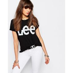 Lee Logo T-Shirt ($41) ❤ liked on Polyvore featuring tops, t-shirts, black, pattern t shirt, logo t shirts, print t shirts, logo tee and print tees