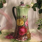 SOLD Gorgeous Pink Burgundy Yellow Roses Antique HAVILAND LIMOGES France CHOCOLATE POT Stunnin