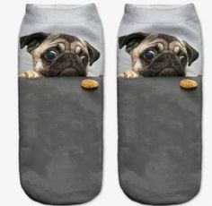 Socks Women's 3D Pug Cookie Print Socks Ladies Low Rise Ankle Socks - Zabardo