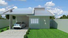 Casa C009: Projeto de casa com 3 quartos, sendo 1 suíte, 2 banheiros e 1 vaga na garagem. Fachada moderna, em platibanda.