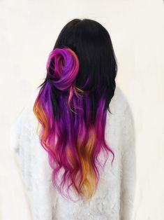 the rainbow hair artist Vivid Hair Color, Cute Hair Colors, Hair Color And Cut, Hair Dye Colors, Cool Hair Color, Pelo Multicolor, Aesthetic Hair, Hair Creations, Coloured Hair