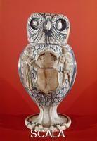 ******** Boccale in forma di civetta in ceramica smaltata Tirol ca. 1540