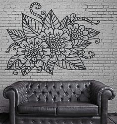 Decor Living Room Wall Sticker Vinyl Floral Openwork Pattern Cutwork (n265)