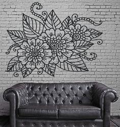 Decor Living Room Wall Sticker Vinyl Floral Openwork Pattern Cutwork (n265)