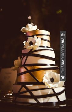 Sweet! - Wedding Cake Trends 2016 - Modern Ivory and Gold Floral Cake | Photographer: Chelsea Nicole | http://www.theknot.com | CHECK OUT SOME FANTASTIC TEMPLATES FOR TASTY Wedding Cake Trends 2016 HERE AT WEDDINGPINS.NET | #weddingcaketrends2016 #weddingcakes #cake #weddings #weddingphotos #weddingpictures