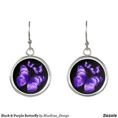 Black & Purple Butterfly Earrings Purple Butterfly, Butterfly Earrings, Colorful Backgrounds, Perfume, Pendant Necklace, Cosmetics, Drop Earrings, Silver, Black