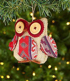 Dillards Trimmings Near and Deer 45 Burlap Owl Ornament #Dillards