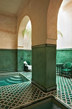These green tiled interiors are so very inspiring.  Morocco, of course:-)