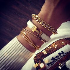 White and gold bracelet stack | tumblr