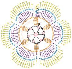 Crochet Flower with Beads Crochet Flower Tutorial, Form Crochet, Crochet Flower Patterns, Crochet Diagram, Crochet Chart, Crochet Motif, Diy Crochet, Crochet Flowers, Crochet Circles