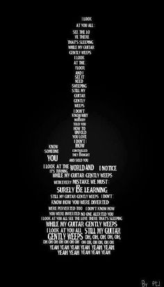Like this lyric collage (art inspiration) http://www.guitarandmusicinstitute.com