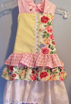 Girls, Ruffle, Apron, Full, Shabby Chic, Cottage Chic, Handmade, Childern's, Kit Kat Crafts.  via Etsy.