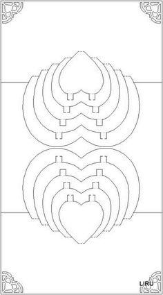 Love heart - Kirigami pop up card template.