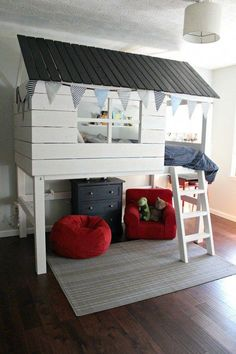 """DIY Kids Clubhouse Bed - Sincerely, Marie Designs - Explore our website for more information on """"bunk bed with stairs plans diy"""". Loft Bed Diy Plans, Bunk Bed Plans, Bunk Beds With Stairs, Kids Bunk Beds, Loft Beds, House Beds For Kids, Diy Beds For Kids, Cool Beds For Kids, Kids Clubhouse"""
