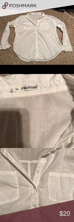 Maurices white Button up size 2 Shadow pinstripe white Button up - only worn once! Maurices Tops Button Down Shirts