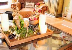 [Decorations] : Santa Coffee Table Christmas Centerpiece Alongside Santa And Train Inspired Ornament And Rectangle Wood Centerpiece Tray Include Floral Arrangement Centerpiece