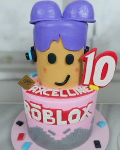 Roblox Birthday Cake, Roblox Cake, 10 Birthday Cake, Geek Birthday, 10th Birthday Cakes For Girls, Birthday Party Images, Cakes For Boys, Birthday Parties, Pastel Minecraft