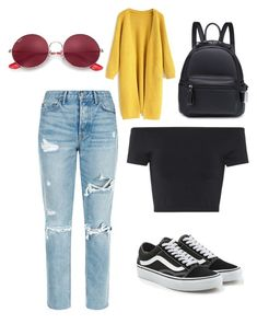 """""""Casual Outfit"""" by dianaempinado on Polyvore featuring GRLFRND, Helmut Lang, Vans, Chicwish and Ray-Ban"""