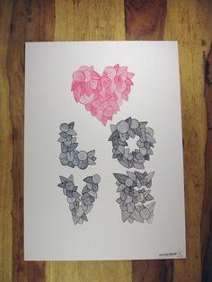 A3 Silkscreen Love/Heart Poster Print in Pink by InspiredBeard, £15.00