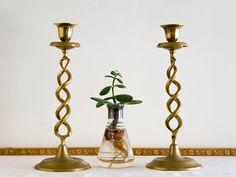 Barley Twist Candlestick Holders Brass Taper Mid by microCosmico