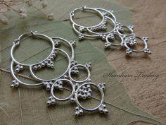 Tribal Chandelier Earrings, Hoop Earrings, Tribal Jewellery, White Brass Earrings, Bohemian Jewellery, Ethnic Earrings, Indian Brass Jewelry