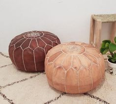 Set of 2 Premium Handmade Moroccan Leather Pouf Ottoman, Genuine leather Moroccan Pouf , pouffe , Leather Pouf Ottoman, Moroccan Leather Pouf, Moroccan Pouf, Moroccan Tiles, Moroccan Decor Living Room, Moroccan Bedroom, Moroccan Interiors, Living Furniture, Living Room Chairs