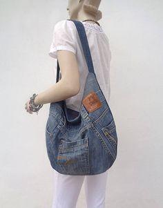 Denim bag hobo purse slouchy shoulder bag upsycled jeans