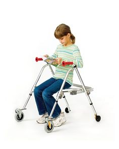 The Kaye posture rest control walker features 4 wheels including 2 front swivel wheels.The Kaye posture rest control walker has the advantage of foldability, which makes it easy to store or carry to other places. Its height ranges from 23 to 30.5 inches. This specific model is the adolescent version. This unit comes with a fold-up seat.