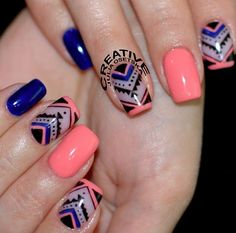 Nails Dark Blue, Coral Peach, with Aztec Accent Nails