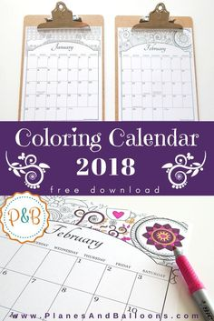 Coloring calendar 2018 Free Printable! Give your personal touch to every page, month by month. Includes US holidays and commonly celebrated occassions.