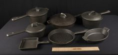 MISCELLANEOUS LOT OF CAST IRON COOK WARE. FRY PAN, DUTCH OVEN, SAUCE PANS, ETC. WINNER TAKES ALL.