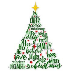 Christmas Tree SVG File PDF dxf jpg png eps ai Christmas Words SVG... ❤ liked on Polyvore featuring christmas