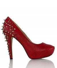 Shoes www.shoeenvy.com.au Fire Dragon - Womens red snake studded platform high heels $169