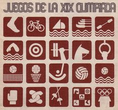 pictograms, logo, and identity for the 1968 Olympic games, Mexico City, designed by Lance Wyman