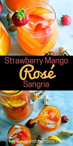 in a Glass: Strawberry Mango Rosé Sangria The perfect sangria recipe with rosé, strawberries and mangoes!The perfect sangria recipe with rosé, strawberries and mangoes! Mango Sangria, Mango Cocktail, Rose Sangria, Sangria Wine, White Peach Sangria, Moscato Sangria, Sangria Alcohol, Champagne Sangria, Cranberry Sangria