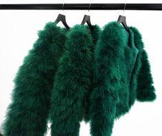 Emerald Green Fluffy Feather Jacket Marabou by KARIZMAlondon