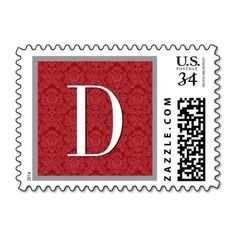 Red Damask Monogram Wedding A833 Postage Stamps  #jaclinart #wedding #monogram #stamps #postage #colors #red #damask