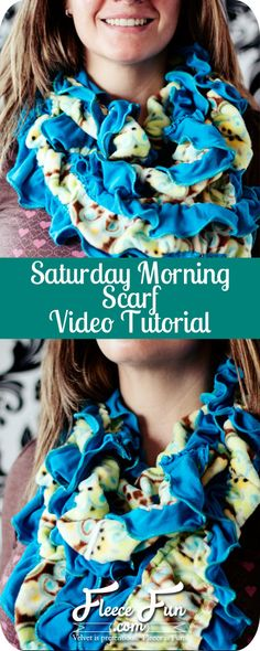 I love the combination of jersey knit and fleece for this scarf tutorial. Plus there are tips on how to fake a lettuce edge on a sewing machine. And this sewing tutorial has a video. Love!