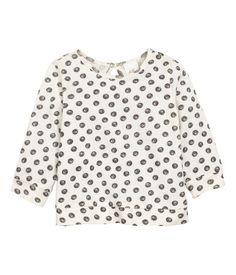 Natural white/dotted. Fine-knit sweater in soft cotton with a printed design…