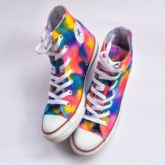 Kids Rainbow Unicorn Vomit Tie Dye Custom Converse for Youth Tie Dye Converse, Rainbow Converse, Cool Converse, Custom Converse, Converse Sneakers, Custom Shoes, High Top Sneakers, Converse High, Painted Canvas Shoes