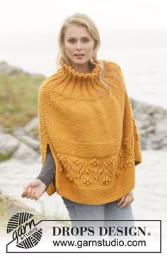 """Poncho con cenefa de """"garbanzos"""" - Ravelry: Saffron: Poncho with lace pattern and bobbles in Nepal pattern by DROPS design Alpaca Poncho, Poncho Shawl, Knitted Poncho, Knitted Shawls, Capelet, Tunisian Crochet Patterns, Knitting Patterns Free, Free Pattern, Knit Crochet"""