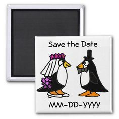 Funny Penguin Save the Date Wedding Magnets #penguins #weddings #funny #magnets #savethedate #animals #zazzle #petspower