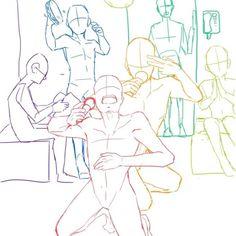 Basic Drawing, Body Drawing, Drawing Base, Anime Poses Reference, Drawing Reference, Funny Drawings, Cool Drawings, Illustration Sketches, Drawing Sketches
