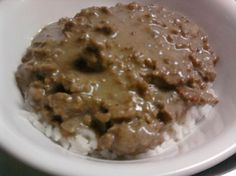 Hamburger gravy or like my grandma calls it Potato hash. Maw's take on it: combine meat and gravy with  potatoes that have been cooked down and serve over rice. Yea I know...double starches (it is a Louisiana thing)