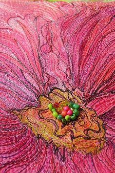 "motleycraft-o-rama: "" Hollyhock by Marveles Art Quilting on Etsy "" Thread Art, Thread Painting, Fabric Painting, Fabric Art, Free Motion Embroidery, Free Machine Embroidery, Free Motion Quilting, Quilt Modernen, Creative Textiles"